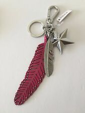 NWT Coach Silver Steel Pink Leather Feathers Star Charm Keychain Key Fob 63893