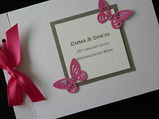 Personalised Handmade Wedding Card Guest Signing Book Large Butterfly Diamantee
