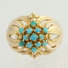 Turquoise Cluster Cocktail Ring - 18k Yellow Gold Women's Size 8 3/4 - 9