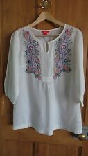 Pretty Embroidered MONSOON Tunic Top Size 14