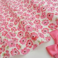 per 1/2 metre/FQ PINK POPPIES dressmaking/craft fabric 100% COTTON