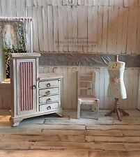 Dollhouse Miniature 3-Piece Armoire, Chair, Dress, Form Mannequin LOT 1:12 Scale