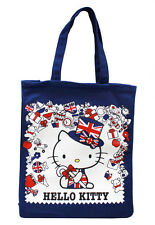 "New 15"" Blue British Hello Kitty Union Jack London Tote Bag Japanese"
