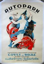 Vintage French Auto Parts Poster on Linen