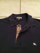 Men's Burberry London Polo Button Shirt Navy Blue Nova Check Plaid Haymarket XL