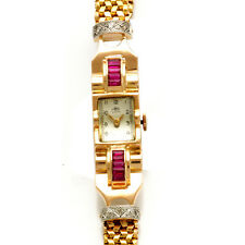 WOMEN'S 18K PINK GOLD DIAMOND AND SYNTHETIC RUBY RETRO BRACELET WATCH