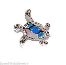 19mm Hawaiian Rhodium 925 Sterling Silver Turtle TriColor Inlaid Opal CZ Pendant