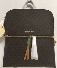 NEW Michael Kors Medium Slim Rhea Zip Brown Signature Backpack Handbag $258