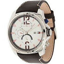 BRAND NEW TOMMY HILFIGER 1790834 PRESTON BROWN LEATHER BAND & SILVER MEN'S WATCH