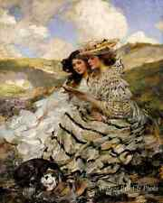 On the Dunes by James J Shannon Victorian Women Dog Read Book 8x10 Art Print 312