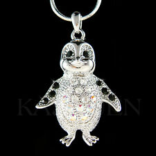 w Swarovski Crystal Black Emperor Penguin Antarctica Jewelry Charm Necklace New