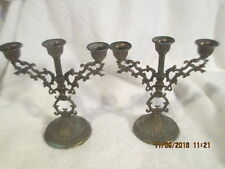 VINTAGE Pair of Gothic Small CANDELABRA Candlesticks Metal Brass Italy Ornate