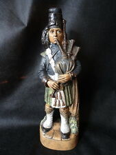 Vintage Pottery Highland Bagpipe Player Whiskey Decanter Figurine Continental
