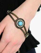 New Womens Fashion Bracelet Gold Turquoise Stone