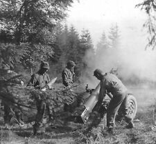 WWII B&W Photo US Army 105mm Howitzer in Action Germany World War Two WW2 / 1266
