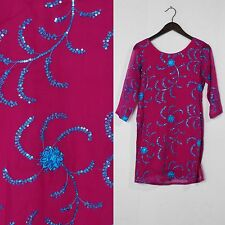 SEQUIN RASPBERRY BLUE FLORAL Vintage 90s SCOOP BATIK TUNIC KURTA DRESS S