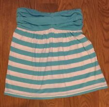 ABERCROMBIE & FITCH Girls Aqua Blue Striped Strapless Tube Tank Top Shirt Size M