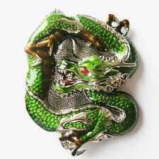 DRAGON CHINA GREEN ANIMAL FANTASY FIRE BELT BUCKLE