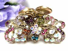 New Fashion multi-color Crystal silver tone Metal flower hair claws clips pins