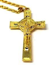 Nuevo Para Hombre Para Mujer católico Cruz Collar Colgante de oro 18K RELEGION imágenes de Reino Unido