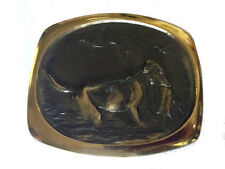 Vtg Solid Bronze Dog Belt Buckle Duck Hunting Shooting Hunter Western Style Mens