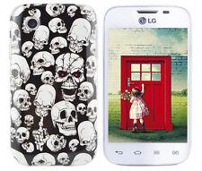 Hülle f LG L40 D160 Case Cover Tasche Silikon TPU Totenköpfe Skulls Zombies