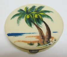 Vintage REX FIFTH AVE Hand Painted PALM TREES Celluloid Powder COMPACT ~ USA