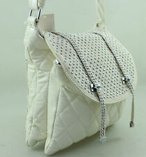 QUILTED FAUX LEATHER DIAMANTE STUDDED SHOULDER CROSS BODY HANDBAG WHITE BEIGE