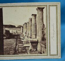 1860s Italy Stereoview Photo Temple Pompeii Early Manuscript Title