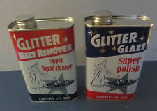 2 Old Vintage 1960's GLITTER Auto Polish / Cleaner TINS - Grosse Point Farms MI.