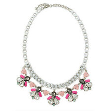 Stella & Dot Callie White Crystal Antique Silver Tone Statement Necklace