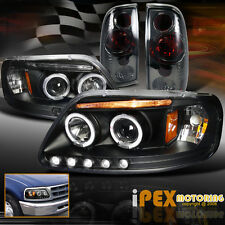 (Black+Smoke Combo) 1997-2003 Ford F150 HALO LED Projector Headlights+Tail Light