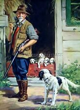 ANTIQUE HUNTING PHOTOGRAPH REPRINT 8X10 HUNTER WITH ENGLISH SETTER AND PUPPIES