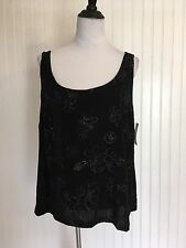 NEW Alex Evenings Tank Top Women's Plus Size 2X Gold Floral Stretch Acetate NWT