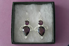 Beautiful Silver Earrings With Faceted African Amethyst 6.2 Gr.3.5 Cm.Long+Hook