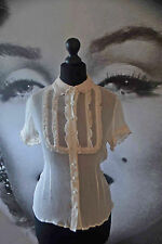 20's sheer blouse ivory peterpan collar shirt top frilled bib vintage silk