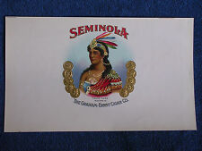 """Seminola"" Gilt Embossed Chromolitho Inner Cigar Label/Sexy Indian Woman-Feather"