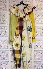 VINTAGE Clown Costume 1950's Adult  Size Fits L/XL/XXL 50s Women's Plus Yellow