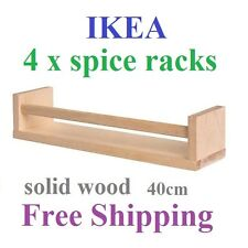 4 x IKEA Wall Mounted Spice Rack Solid Birch Jar Can Book Magazine Holder New
