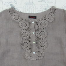 Carla Conti Long Lagenlook Linen Tunic Top crochet Lace side vents brown  L