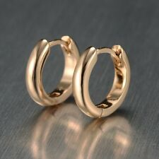 Hot Wholesale 18k Gold Filled Earrings 15MM Womens Smooth Hoops Wedding Jewelry