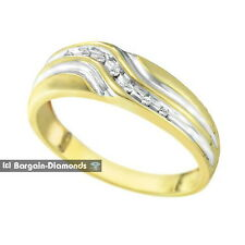 mens diamond .06 carats 10K yellow gold ring wedding band dress anniversary mans
