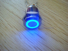 1pc Angel Eye BLUE Led 22mm 12V stainless Steel Switch Momentary Push Button