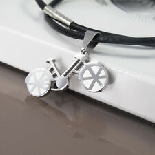 Silver Stainless Steel Bicycle Pendant Womens Mens Black Leather Necklace NEW