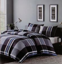 Ink + Ivy Duvet Cover Bed Set Full/Queen Nathan Multi Black Blue Plaid Shams 3pc