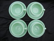 FOUR JADITE JADEITE FIRE KING RESTAURANT WARE CUP AND SAUCER SETS