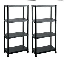 2X Plastic Shelving 4 Tier Storage Unit Rack Shelves Garage Shop Warehouse Shed