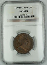 1697 England 1/2 Penny Silver Coin Ngc Au-58 Brown Bn Akr