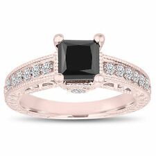 14k Rose Gold Princess Cut Enhanced Fancy Black Diamond Engagement Ring Unique