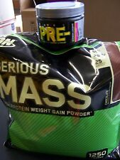 OPTIMUM NUTRITION SERIOUS MASS! Vanilla 12 lbs + Container of Pre- Pre-Workout